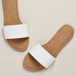 White and Tan Sandals